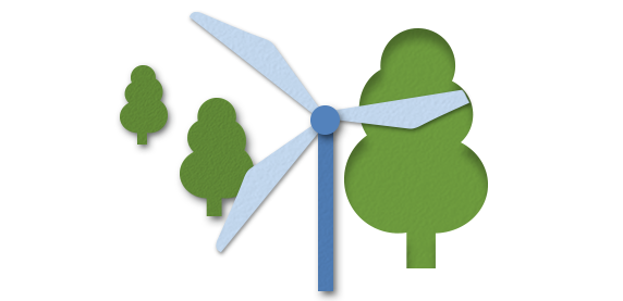 An illustration of a wind turbine surrounded by trees
